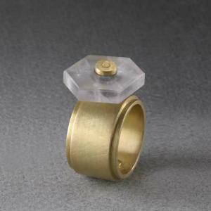 Anillo hueco oro 750 hexagono ametrino movil