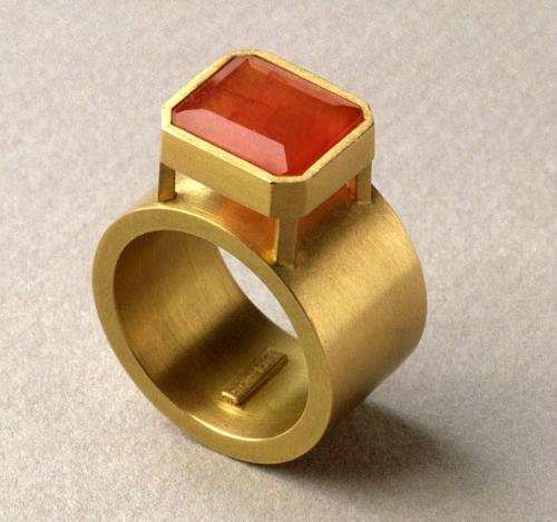 Anillo hueco oro 750 rodocrosita