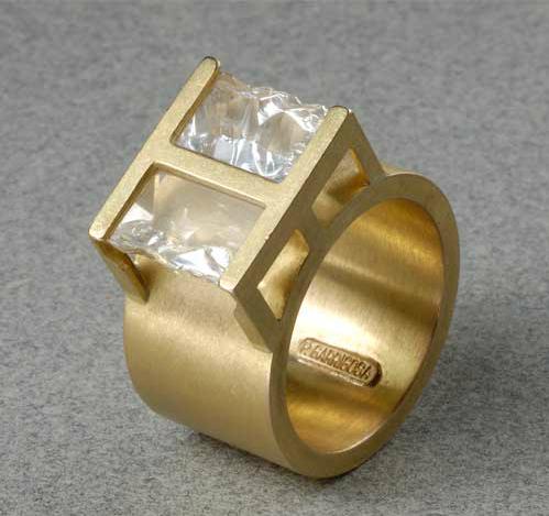 Anillo oro 750 dos cuarzos de roca de brasil