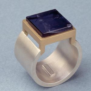 Anillo plata oro iolita