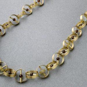 Collar anillas oro granates turmalinas aguamarinas