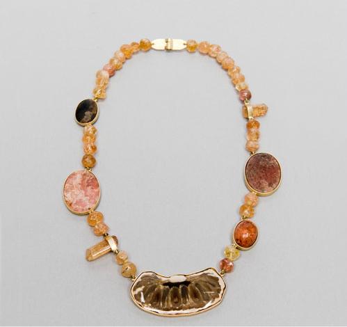 Collar de piña fosilizada madera fosilizada bolas de topacio imperial y prismas de topacio imperial