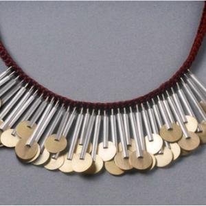 Collar plata oro y seda