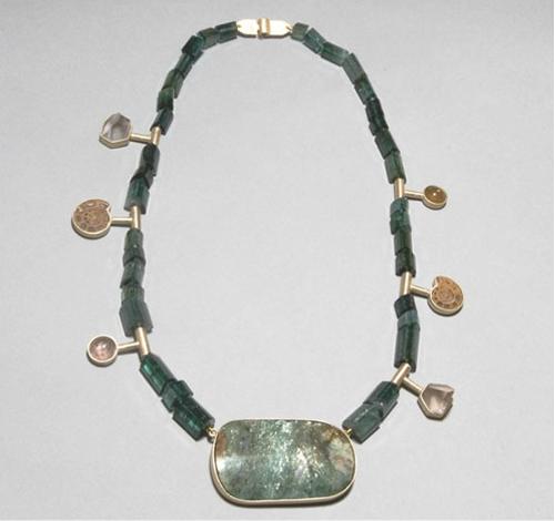 Collar turmalinas oro fuschita ametrinos opalo de fuego amolites cornalina