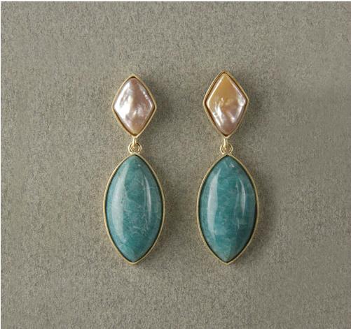 Pendientes largos oro perlas y turquesas