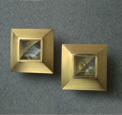 Pendientes oro aguamarinas talla piramide