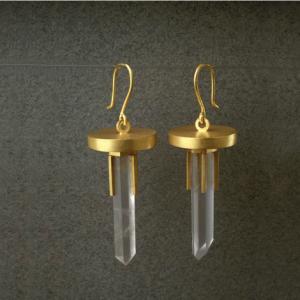 Pendientes oro prismas de cuarzo