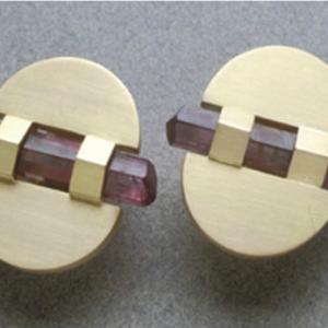 Pendientes oro prismas naturales de rubelita