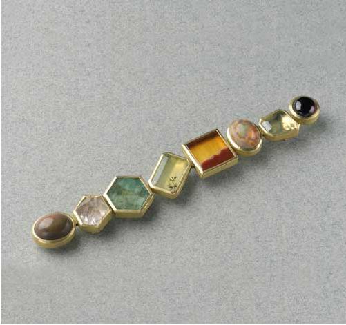 Broche oro 750 agata turmalinas opalo cuarzo dendrita esmeralda