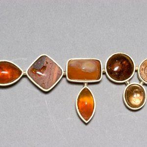Broche oro 750 amonite opalos de fuego cuarzo dendrita