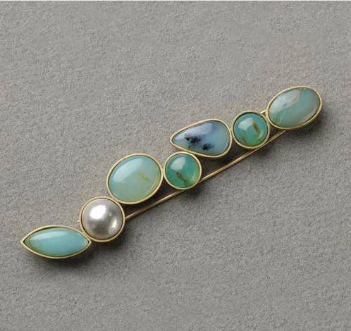 Broche oro 750 perla cuarzo y agatas